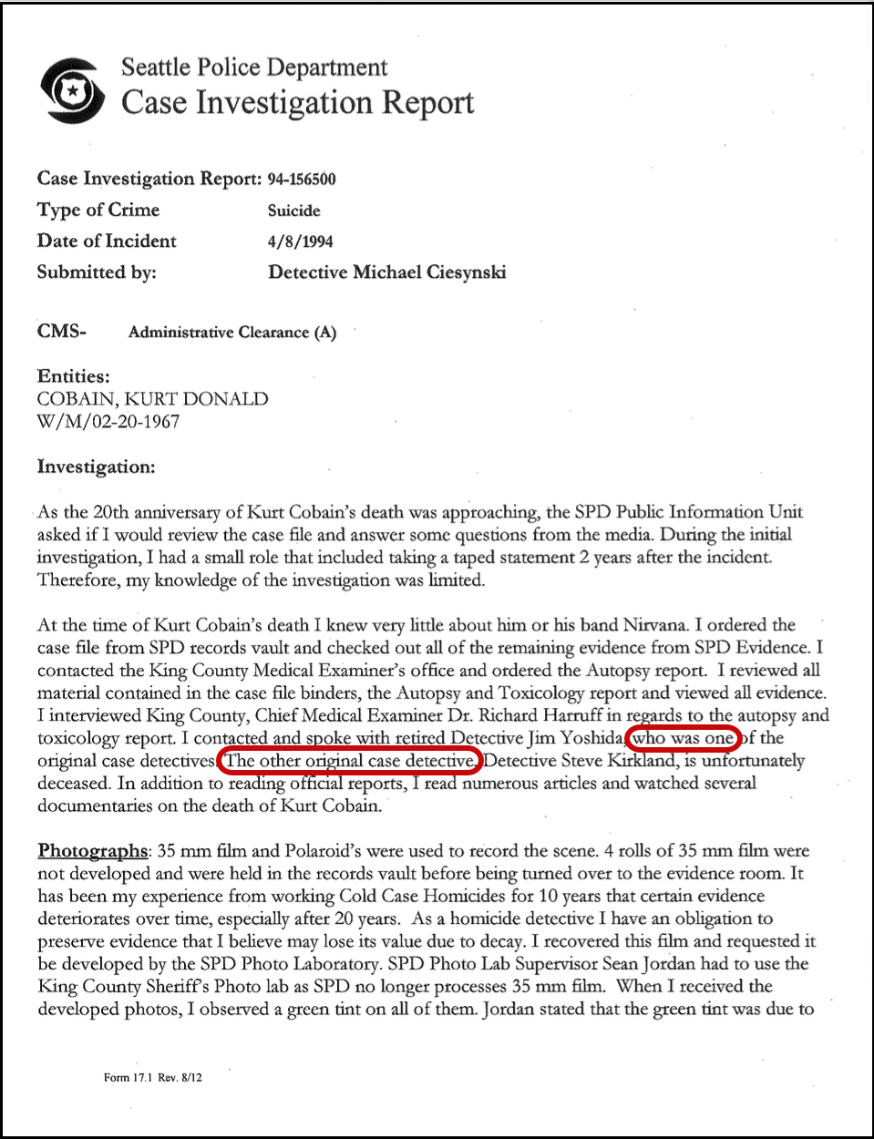 Focus The Kurt Cobain Murder Investigation by Tom Grant – Sample Homicide Police Report